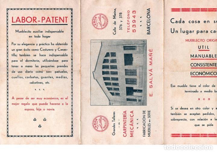 Catálogos publicitarios: TRÍPTICO PUBLICITARIO ANTIGUO E. SALVÁ MAÑÉ CARPINTERÍA MECÁNICA BARCELONA LABOR PATENT MUEBLES VER - Foto 4 - 124030403