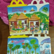 Catálogos publicitarios: DOS PAQUETES DE PATATAS HAPPY MEAL MCDONALD'S. AÑOS 90. BARBIE, HOT WHEELS,. Lote 124302663