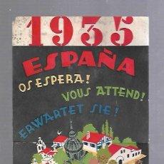 Catálogos publicitarios: FOLLETO PUBLICITARIO. 1935. HOTELES UNIDOS HUSA. ESPAÑA OS ESPERA!. VER DORSO. 22 X 13CM. Lote 124599459