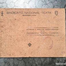 Catálogos publicitarios: SINDICATO NACIONAL TEXTIL SECCION LANA NORMAS CATALOGO Y PRECIOS REGULADORES DE LA INDUSTRIA TEXTIL . Lote 125228707