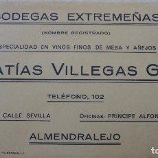 Catálogos publicitarios: ANTIGUA TARJETA PUBLICITARIA.MATIAS VILLEGAS GIL.BODEGAS EXTREMEÑAS.ALENDRALEJO.. Lote 127526879