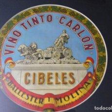 Catálogos publicitarios: ORIGINAL ETIQUETA ANTIGUA: VINO TINTO CARLON / BALLESTER Y MOLINA. CIBELES. GRANDE CON MARCO. Lote 127638607