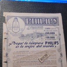 Catálogos publicitarios: ANTIGUO CATALOGO - AÑOS 10/20 - 1 HOJA PHILIPS ?PORQUÉ LA LAMPARA PHILIPS ES LA MEJOR DEL MUNDO ?. Lote 128551999