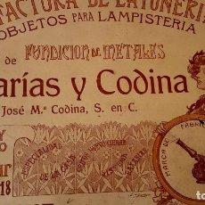 Catálogos publicitarios: MODERNISMO - LAMPISTERIA - 1900 - 1910 - CATALOGO DE BAIXARÍAS Y CODINA . Lote 129450783