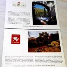 Catálogos publicitarios: ANTIGUA PUBLICIDAD - RESTAURANTE EL BULLI - 29,5X21CM - EXTRAÍDA DE LIBRO.. Lote 130152579