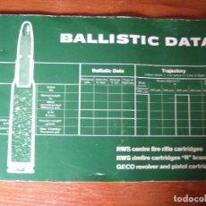 Catálogos publicitarios: CATALOGO CON DATOS BALÍSTICOS BALAS DIFERENTES ARMAS. Lote 130342522