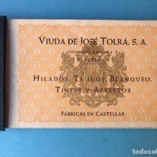 Catálogos publicitarios: ANTIGUO MUESTRARIO DE TEJIDOS VIUDA DE JOSE TOLRA - HILADOS, TEJIDOS - CATALOGO PUBLICIDAD MUESTRAS. Lote 130850012