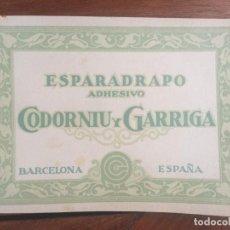 Catálogos publicitarios: CATÁLOGO ESPARADRAPO ADHESIVO CODORNIU Y GARRIGA (ORIGINAL).. Lote 130912384