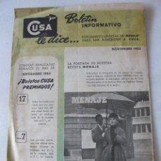 Catálogos publicitarios: COMPRADORES UNIDOS S.A. -CUSA- BOLETÍN INFORMATIVO 1953. Lote 130995748