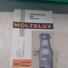 Catálogos publicitarios: CATÁLOGO TRITURADORES DE BASURA MOLTELUX . Lote 131437198