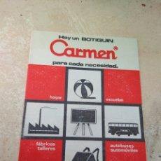 Catálogos publicitarios: FOLLETO DE PUBLICIDAD BOTIQUÍN CARMEN - CONSEJOS PARA PRIMEROS AUXILIOS - AÑOS 60 -. Lote 132569453