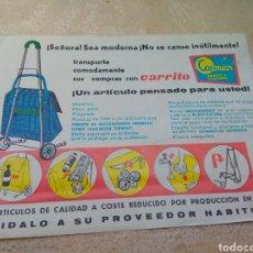 Catálogos publicitarios: ANTIGUA HOJA PUBLICITARIA CARRITO Y SILLA DE PLAYA - CARMEN - AÑOS 60 -. Lote 132570043