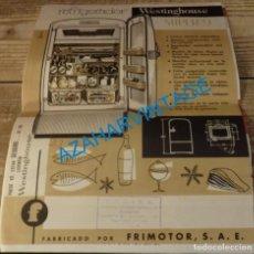 Catálogos publicitarios: PUBLICIDAD - REFRIGERADOR SUPER-9, WESTINGHOUSE, FRIMOTOR S.A. ESPAÑOLA, BILBAO. Lote 133040962