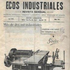Catálogos publicitarios: ECOS INDUSTRIALES. REVISTA MENSUAL. Nº 165. INGENIERIA, SUBASTAS, CONCURSOS, MAQUINARIA. VER. Lote 133208442