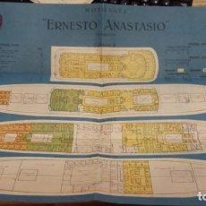 Catálogos publicitarios: COMPAÑIA TRANSMEDITERRANEA. DESPLEGABLE PUBLICITARIO. BUQUE ERNESTO ANASTASIO. Lote 133212530