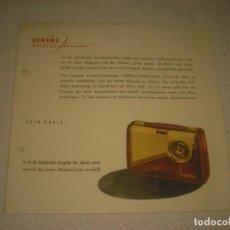 Catálogos publicitarios: LORENZ RADIO, ANTIGUA PUBLICIDAD EN ALEMAN.. Lote 134256566
