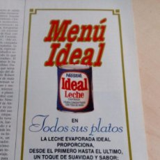 Catálogos publicitarios: NESTLE.LECHE IDEAL.PUBLICIDAD NESTLE.MENU IDEAL.. Lote 134835178