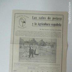 Catálogos publicitarios: CATÁLOGO SALES DE POTASA DE ALSACIA - POTASA DE STASSFURT. Lote 134972074