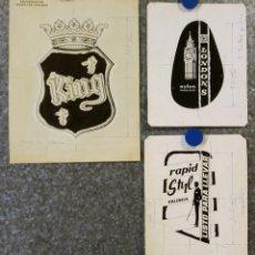 Catálogos publicitarios: LANAS ARAGON VALENCIA. ROPA, TEXTIL PUBLICIDAD - 3 PRUEBAS DE IMPRENTA ORIGINALES PINTADAS A MANO. Lote 135026502