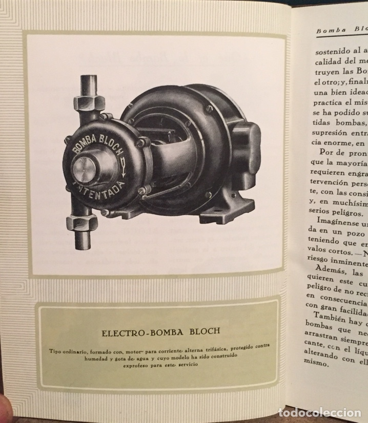 1923, ELECTRO BOMBA BLOCH. MANUAL COMERCIAL. (Coleccionismo - Catálogos Publicitarios)