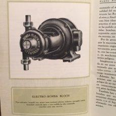 Catálogos publicitarios: 1923, ELECTRO BOMBA BLOCH. MANUAL COMERCIAL.. Lote 135048731