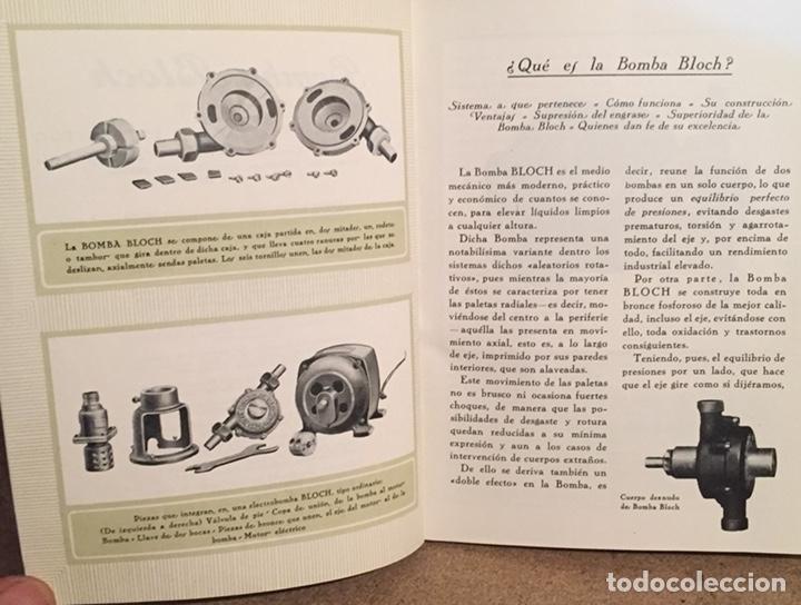 Catálogos publicitarios: 1923, ELECTRO BOMBA BLOCH. Manual comercial. - Foto 3 - 135048731