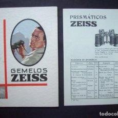 Catálogos publicitarios: CATALOGO PUBLICITARIO ZEISS DE GEMELOS, PRISMATICOS. INCLUYE LISTA DE PRECIOS. 1930. Lote 135726899