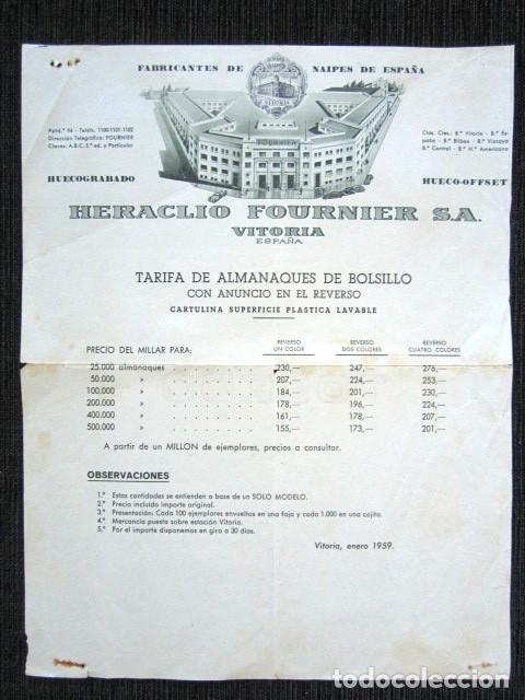 PUBLICIDAD NAIPES HERACLIO FOURNIER, VITORIA 1959. TARIFA PRECIOS ALMANAQUES DE BOLSILL -CALENDARIO (Coleccionismo - Catálogos Publicitarios)