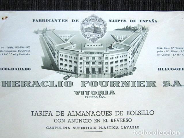 Catálogos publicitarios: PUBLICIDAD NAIPES HERACLIO FOURNIER, VITORIA 1959. TARIFA PRECIOS ALMANAQUES DE BOLSILL -CALENDARIO - Foto 2 - 135805354