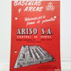 Catálogos publicitarios: BASCULAS Y ARCAS. ARISO. BARCELONA.. Lote 135878550