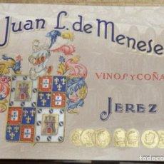 Catálogos publicitarios: ANTIGUA PUBLICIDAD EN RELIEVE - JUAN L. DE MENESES - VINOS Y COÑACS - JEREZ. Lote 136723498