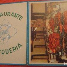 Catálogos publicitarios: ANTIGUA CARTA MENU.RESTAURANTE MARISQUERIA LA TOJA.CALLE 7 JULIO,3.MADRID. Lote 137163850