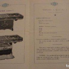 Catálogos publicitarios: ANTIGUO FOLLETO PUBLICITARIO.COCINAS A GAS SERROT Nº 1.. Lote 137172898