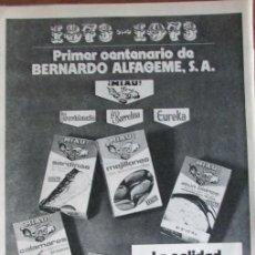 Catálogos publicitarios: RECORTE HOJA PUBLICIDAD 1973 BERNARDO ALFAGEME. CONSERVAS MIAU. LA PROVIDENCIA, LA BARRETINA.... Lote 137295866