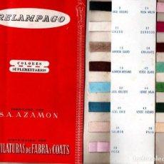 Catálogos publicitarios: FOLLETO MUESTRARIO TEXTIL HILATURAS FABRA Y COATS RELÁMPAGO COLORES COMPLEMENTARIOS. Lote 137646286