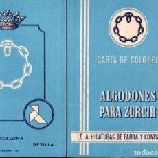 Catálogos publicitarios: FOLLETO MUESTRARIO TEXTIL HILATURAS FABRA Y COATS ALGODONES PARA ZURZIR. Lote 137647310