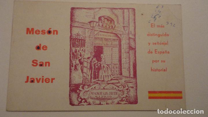 ANTIGUA TARJETA PUBLICITARIA.MESON DE SAN JAVIER.COCINA ESPAÑOLA Y FRANCESA.MADRID (Coleccionismo - Catálogos Publicitarios)