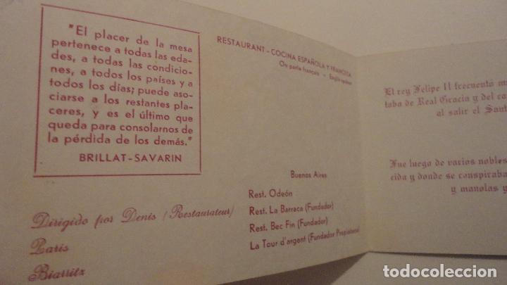 Catálogos publicitarios: ANTIGUA TARJETA PUBLICITARIA.MESON DE SAN JAVIER.COCINA ESPAÑOLA Y FRANCESA.MADRID - Foto 2 - 139022694