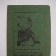 Catálogos publicitarios: CATALOGO MAQUINA DE ESCRIBIR CONTINENTAL - WANDERER WERKE-INSTRUCCIONES DE USO -VER FOTOS (V-15.283). Lote 139332134