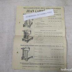 Catálogos publicitarios: ROMANAS BALANZAS BASCULAS ' JUAN CARRE SANTANDER - 8 FOLIOS, PRECIOS MODELOS ETC + INFO . Lote 139570618