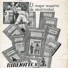 Catálogos publicitarios: FOLLETO PUBLICITARIO. BIBLIOTECA DEL ELECTRICISTA PRÁCTICO. Lote 141920570