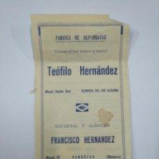 Catálogos publicitarios: HOJA PUBLICITARIA TEOFILO HERNANDEZ CERVERA DEL RIO ALHAMA. FABRICA ALPARGATAS. SANGÜESA. TDKP13. Lote 141929330