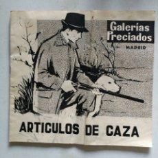 Catálogos publicitarios: ANTIGUO CATÁLOGO ARTICULOS DE CAZA GALERIAS PRECIADOS 1961. Lote 142276294