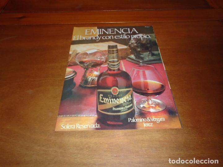 PUBLICIDAD 1978: BRANDY EMINENCIA, DE PALOMINO Y VERGARA. JEREZ. (Coleccionismo - Catálogos Publicitarios)