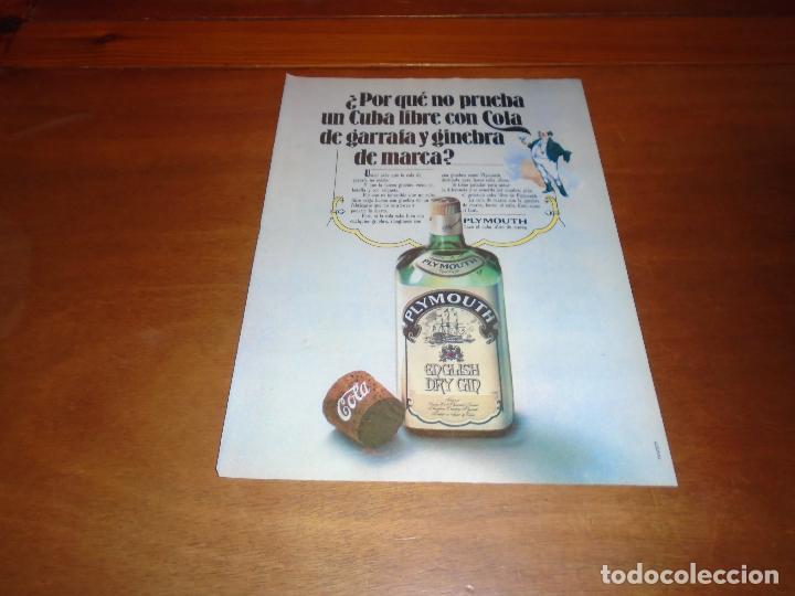 PUBLICIDAD 1978: PLYMOUTH DRY GIN (Coleccionismo - Catálogos Publicitarios)