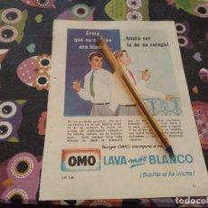 Catálogos publicitarios: ANTIGUO ANUNCIO PUBLICIDAD REVISTA DETERGENTE OMO LAVA MAS BLANCO. Lote 143180618