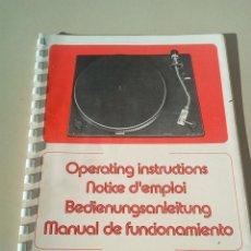 Catálogos publicitarios: MANUAL DE INSTRUCCIONES TOCADISCOS OCNOSON CT- 1800 . Lote 144854326
