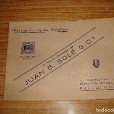 Catálogos publicitarios: (TC-145) INTERESANTE DIFICIL CATALOGO FABRICA TEJIDOS METALICOS A. VILA SUCESOR DE JUAN B. SOLE & C. Lote 145276726