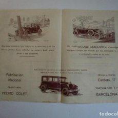 Catálogos publicitarios: PARAGOLPES CANTABELLA FABRICANTE PEDRO COTET BARCELONA 1925 - DESPIECE. Lote 146758354