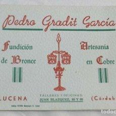 Catálogos publicitarios: CATÁLOGO BRONCES ARTÍSTICOS PEDRO GRADIT GARCÍA, LUCENA (CÓRDOBA), MORTEROS, PALMATORIAS, BRASEROS, . Lote 147135290
